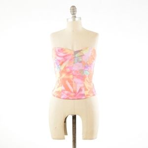 Guess Pink Floral Scuba Knit Sweetheart Bustier
